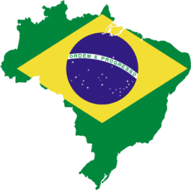 Brazilian-flag-over-map